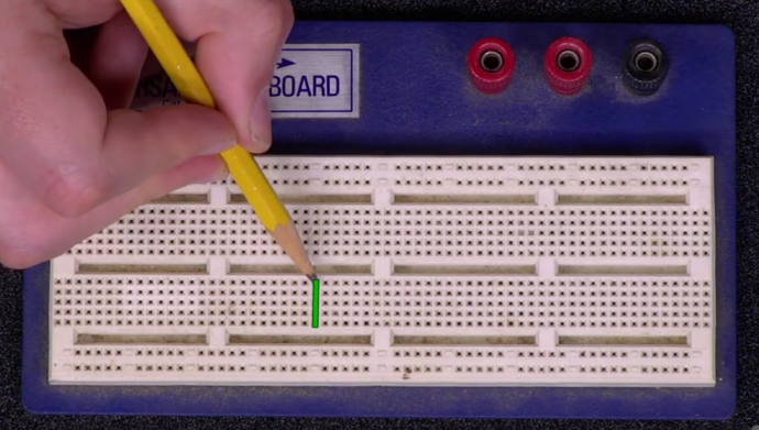 Another row of connected holes on a breadboard