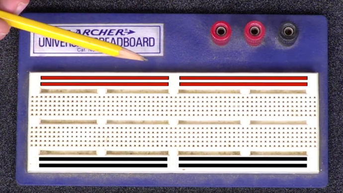 Positive and negative buses on a breadboard