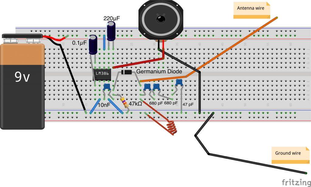 Crystal radio wiring diagram