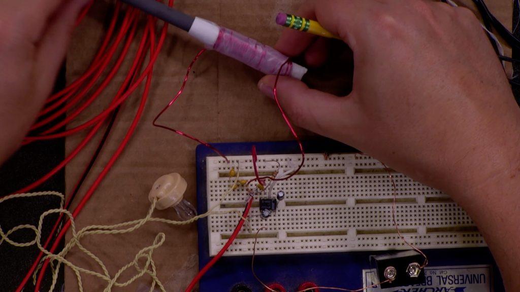 Photo of crystal radio circuit on breadboard