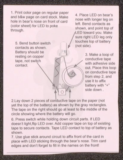 Instructions for making a simple LED circuit that goes inside light up DIY Valentines