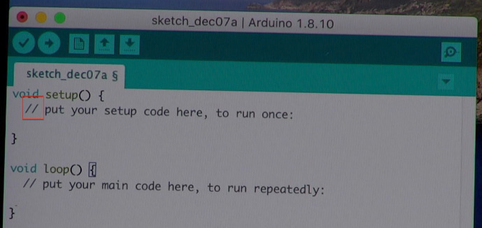Arduino sketch with 2 forward slashes indicating a row of comments indicated by a red box