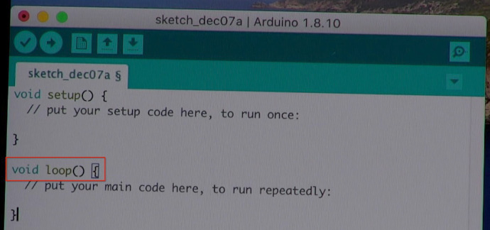 Arduino sketch with loop function indicated by a red box