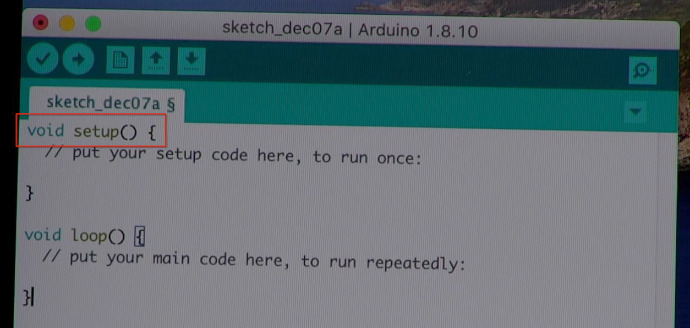Arduino sketch with setup() function identified in a red box