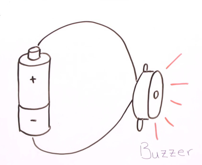 Simple buzzer circuit including just a battery and a buzzer wired together.