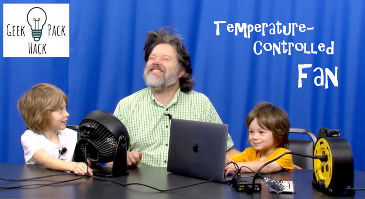 "Man and two boys with computer and fan with text ""Temperature-Controlled Fan"""